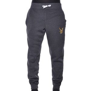 Skinny Gold Glitter Playboy Bunny Jogger Charcoal